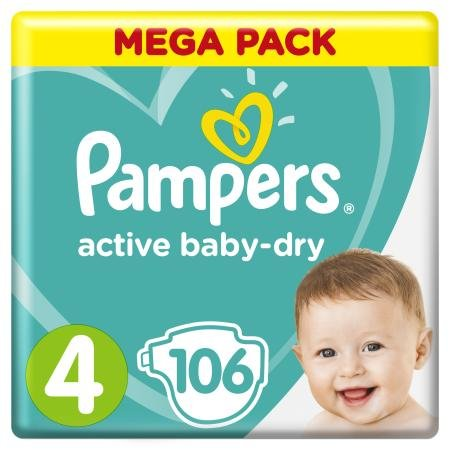 Подгузники Pampers Active Baby 8-14кг Малая Мега 106шт
