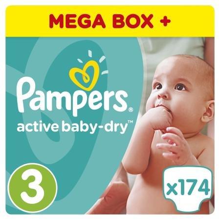 Подгузники Pampers Active Baby-Dry 5-9 кг, 3 размер, 174 шт.
