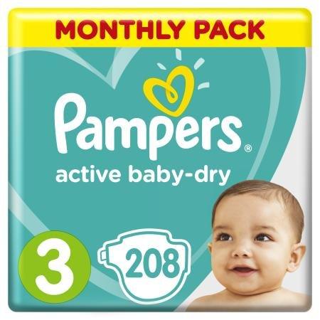 Подгузники Pampers Active Baby-Dry midi Мега5-9кг 208шт