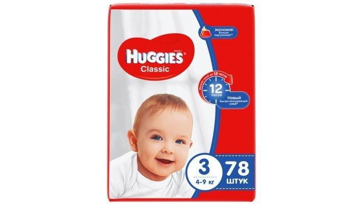 Подгузники [Huggies Classic Mega 3, 78 шт, 4-9 кг.]