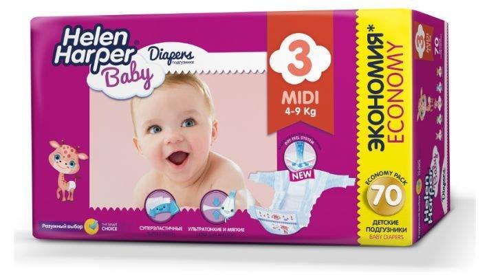 Подгузники [Helen Harper Baby Midi, 70 шт, 4-9 кг.]