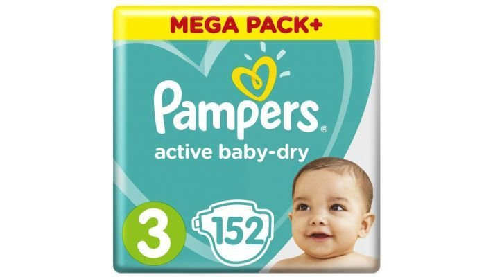Подгузники [Pampers Active Baby-Dry, 152 шт, 6-10 кг.]