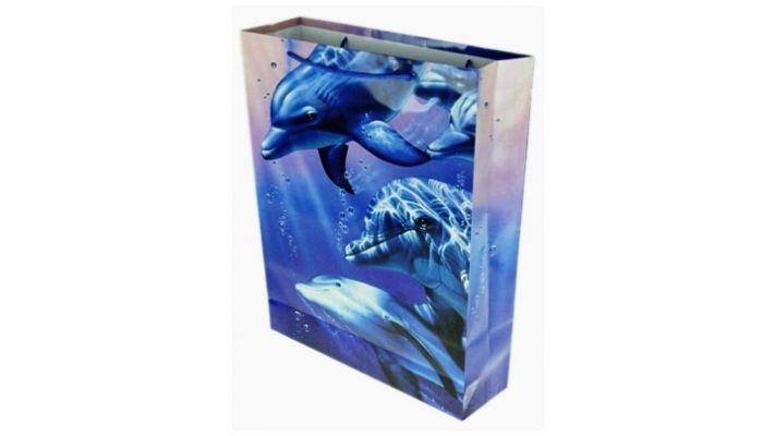 """Бумажный пакет """"Дельфины"""""""