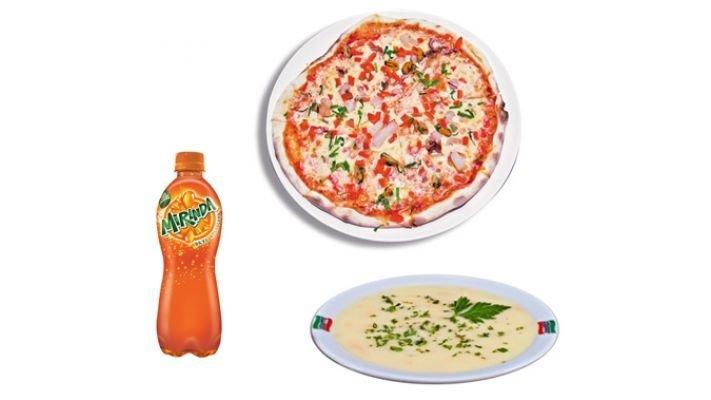Комбо Стандарт [пицца на тонком тесте+суп+напиток (газировка 0,5/чай(кофе) 0,3]