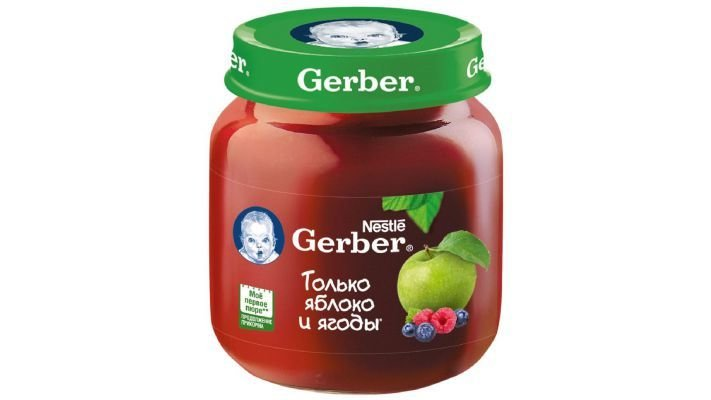 Пюре [Gerber только яблоко с лесными ягодами с 5 месяцев, 130 г, 1 шт.]