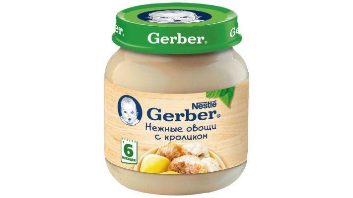 Пюре [Gerber Нежные овощи с кроликом с 6 месяцев, 130 г, 1 шт.]