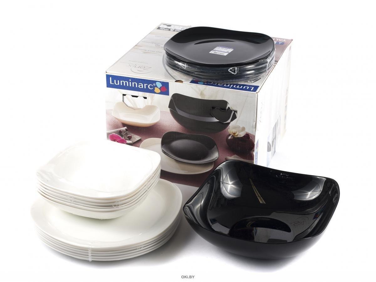 Набор тарелок стеклокерам. Carine Black/White 18шт. 19/21/26см арт.N1479