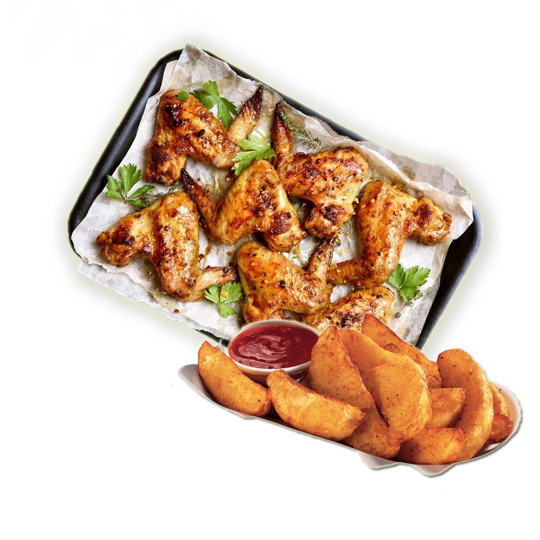 Крылья куриные с мангала с картошечкой, 500гр.