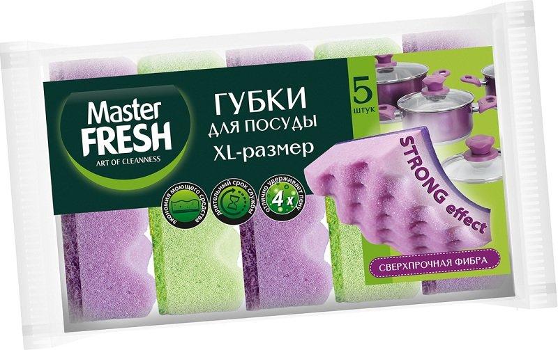 Мастер Фреш Губки для мытья посуды XL STRONG effect 5шт.