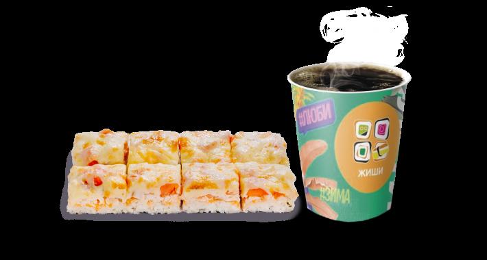 Суши-пицца с курицей и Чай/Кофе