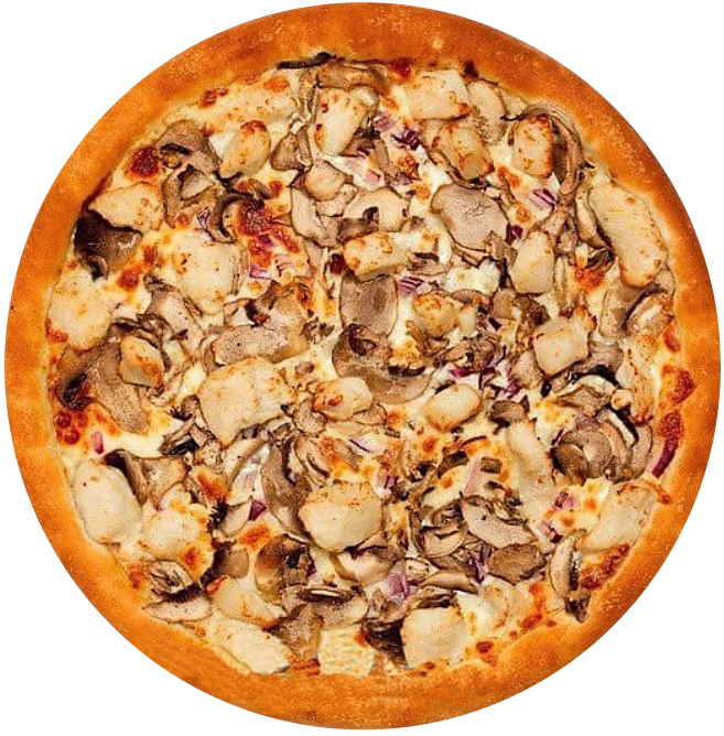 Пицца из курицы с грибами