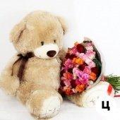 Букет 51 роза кения + медведь 110 см