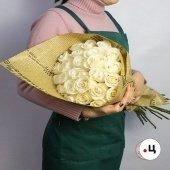 Букет 25 белых роз премиум