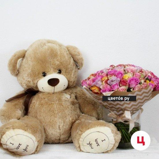 Букет 101 роза кения + медведь 110 см